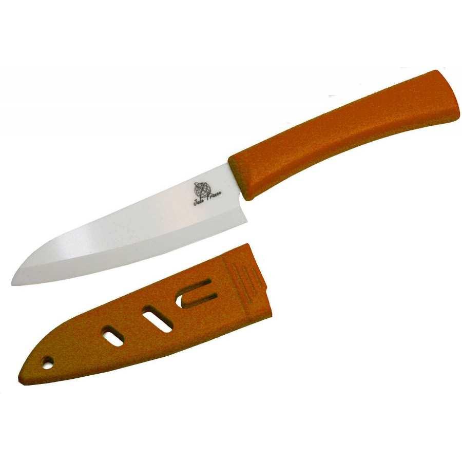 couteau c ramique 4 manche orange avec protection de la lame. Black Bedroom Furniture Sets. Home Design Ideas